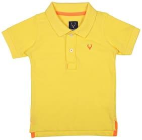 Allen Solly Boy Cotton blend Solid T-shirt - Yellow