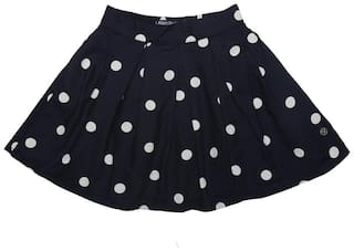 Allen Solly Girl Cotton blend Printed A- line skirt - Black