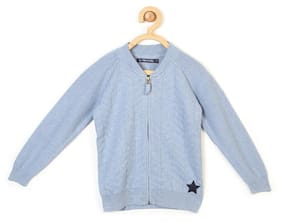 Allen Solly Boy Blended Solid Sweater - Blue