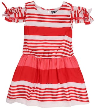 Allen Solly Viscose Frocks Striped Red Color