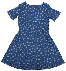 Allen Solly Girl Polyester Printed Frock - Blue