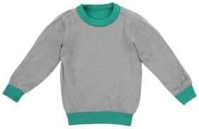 Allen Solly Boy Cotton Solid Sweater - Grey