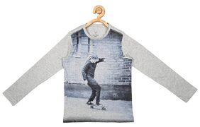 Allen Solly Boy Blended Printed T-shirt - Grey