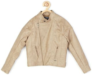 Allen Solly Boy Blended Solid Winter jacket - Beige