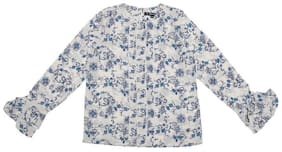 Allen Solly Girl Polyester Printed Top - White