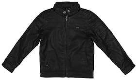 Allen Solly Boy Cotton blend Solid Winter jacket - Black