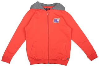 Allen Solly Boy Cotton Solid Sweatshirt - Orange