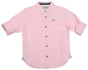 Allen Solly Boy Cotton Solid Shirt Pink