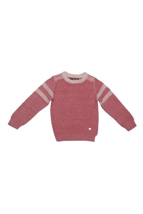 Allen Solly Boy Cotton Solid Sweater - Pink