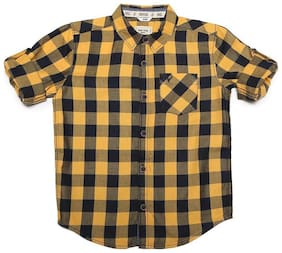 Allen Solly Boy Cotton Checked Shirt Yellow