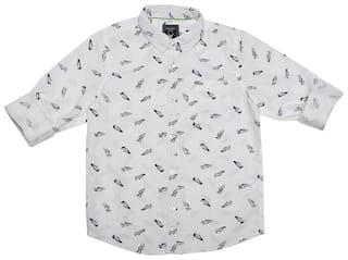 Allen Solly Boy Cotton Printed Shirt White