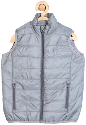 Allen Solly Boy Blended Solid Winter jacket - Blue