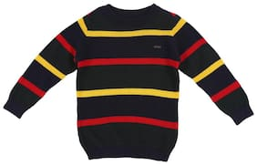 Allen Solly Boy Cotton Striped Sweater - Black