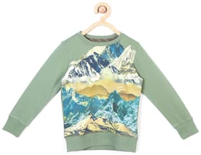 Allen Solly Boy Blended Solid Sweatshirt - Green