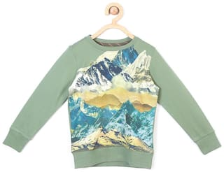 Allen Solly Boy Blended Solid Sweatshirt - Green
