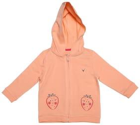 Allen Solly Baby Girl Cotton Solid Sweatshirt - Orange