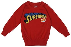 Allen Solly Boy Cotton Printed Sweater - Red