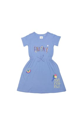 Allen Solly Girl Cotton Printed Frock - Blue