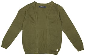 Allen Solly Girl Cotton Solid Sweater - Green