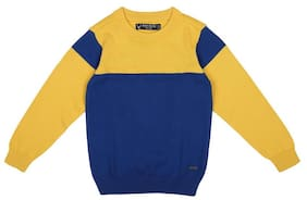Allen Solly Boy Cotton Colorblocked Sweater - Blue & Yellow