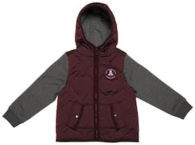 Allen Solly Boy Blended Solid Winter jacket - Maroon