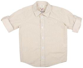 Allen Solly Boy Cotton Printed Shirt Beige