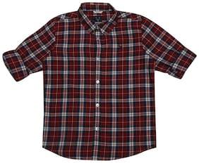 Allen Solly Boy Cotton Checked Shirt Maroon