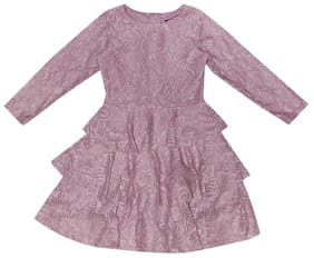 Allen Solly Purple Cotton Full Sleeves Knee Length Princess Frock ( Pack of 1 )