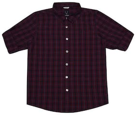 Allen Solly Boy Cotton Checked Shirt Maroon