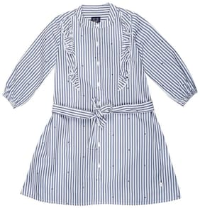 Allen Solly Blue & White Cotton Full Sleeves Knee Length Princess Frock ( Pack of 1 )