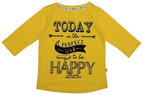 Allen Solly Girl Cotton Printed T shirt - Yellow