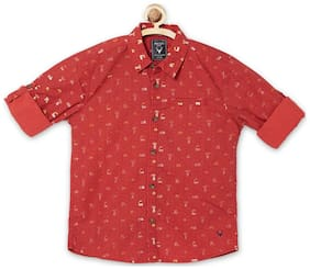 Allen Solly Boy Blended Printed Shirt Red