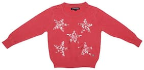Allen Solly Girl Cotton Solid Sweater - Pink
