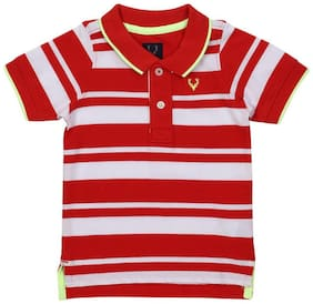 Allen Solly Boy Poly cotton Striped T-shirt - Red