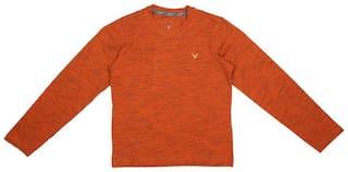 Allen Solly Boy Cotton blend Solid T-shirt - Orange