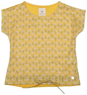 Allen Solly Girl Polyester Printed Top - Yellow