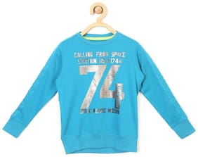 Allen Solly Boy Blended Solid Sweatshirt - Blue