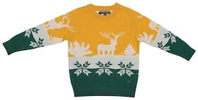 Allen Solly Boy Cotton Solid Sweater - Yellow