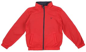 Allen Solly Boy Polyester Solid Winter jacket - Red
