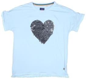 Allen Solly Girl Viscose Solid T shirt - Blue