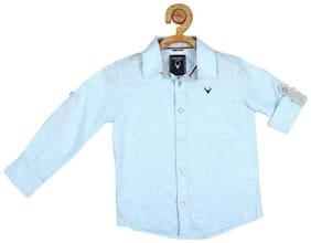 Allen Solly Boy Cotton blend Solid Shirt Blue
