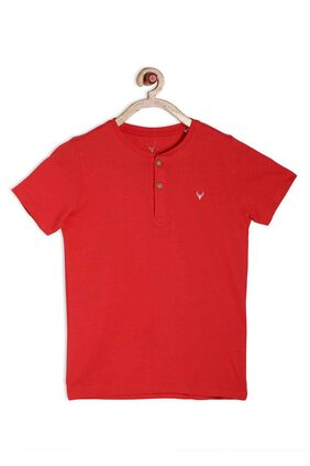 Allen Solly Boy Cotton Blend Solid T-shirt - Red
