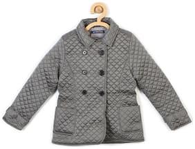 Allen Solly Girl Blended Solid Winter jacket - Grey