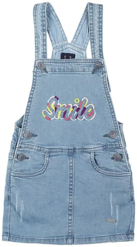 Allen Solly Cotton Dungaree Embroidery Blue Color