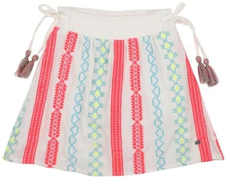 Allen Solly Girl Viscose Embroidered A- line skirt - Multi