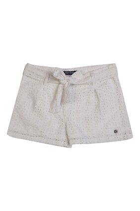 Allen Solly Girl Cotton Blend Solid Regular Shorts - White