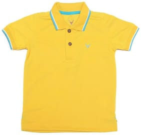 Allen Solly Boy Cotton Solid T-shirt - Yellow