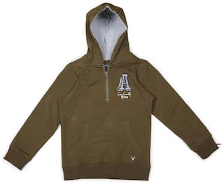 Allen Solly Boy Cotton Solid Sweatshirt - Green