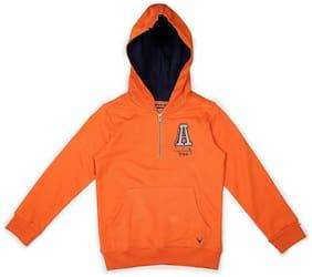 Allen Solly Boy Cotton Solid Sweatshirt - Orange