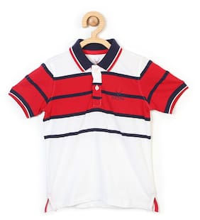 Allen Solly Boy Blended Striped T-shirt - Red